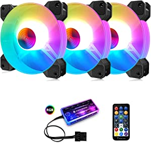 3 Pack RGB Case Fans,PECHAM 120mm Silent Computer Cooling PC Case Fan Addressable RGB Color Changing LED Fan with Remote Control,Music Rhythm Sync & 5V ARGB Motherboard Sync (RGB2)