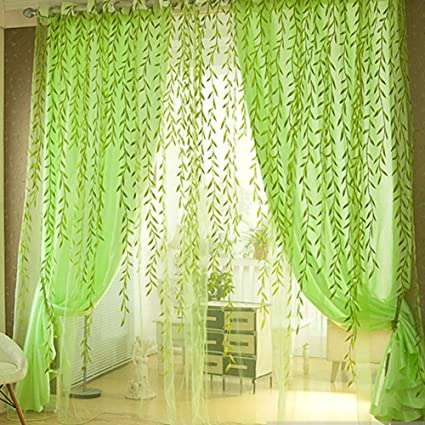 BESTVECH Pastoral Style Willow Floral Sheer Window Scarf Transparent Voile Curtains for Living Room?Bedroom Home Decor,Green,1 * 2.7m,1 Panel