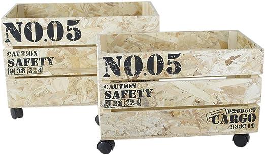 Decorativa 2erSet Cajas de madera shabby Vintage Look – Cajas de ruedas caja Roll: Amazon.es: Hogar