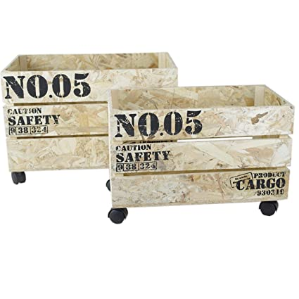 Decorativa 2erSet Cajas de madera shabby Vintage Look – Cajas de ruedas caja Roll