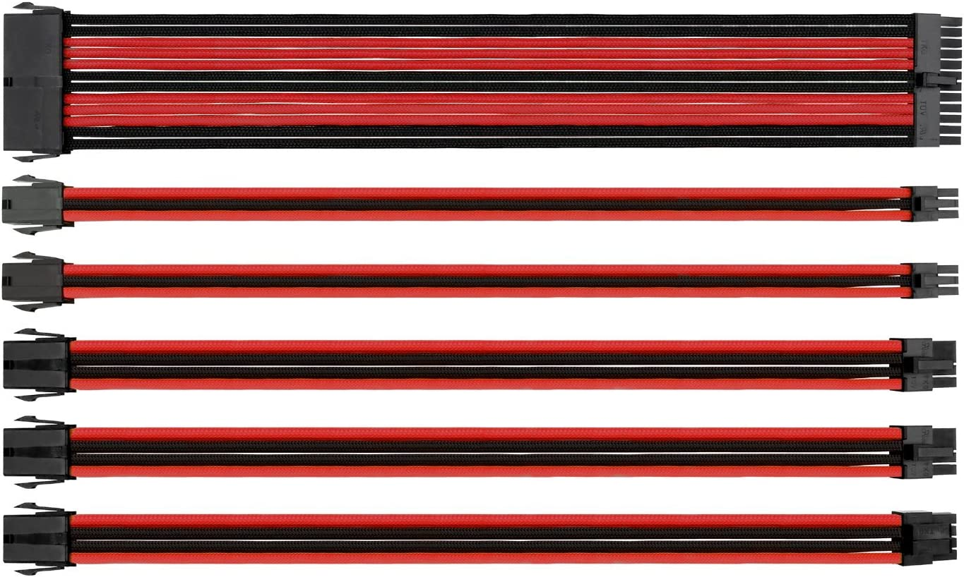 Thermaltake TtMod Sleeve Extension Power Supply Cable Kit ATX/EPS/8-pin PCI-E/6-pin PCI-E with Combs, Red/Black AC-033-CN1NAN-A1