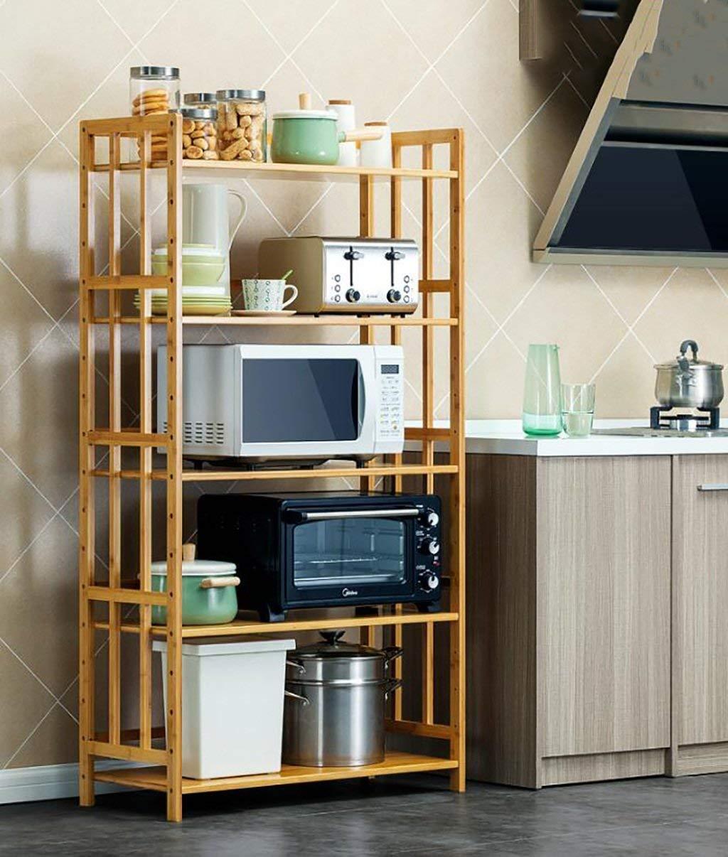 size: 80 * 38 * 153CM Color : -, Size : - kitchen storage racks FuweiEncore Kitchen shelf Kitchen Shelf Floor Microwave Oven Shelf 5-storey kitchen warehousing rack rack oven bamboo