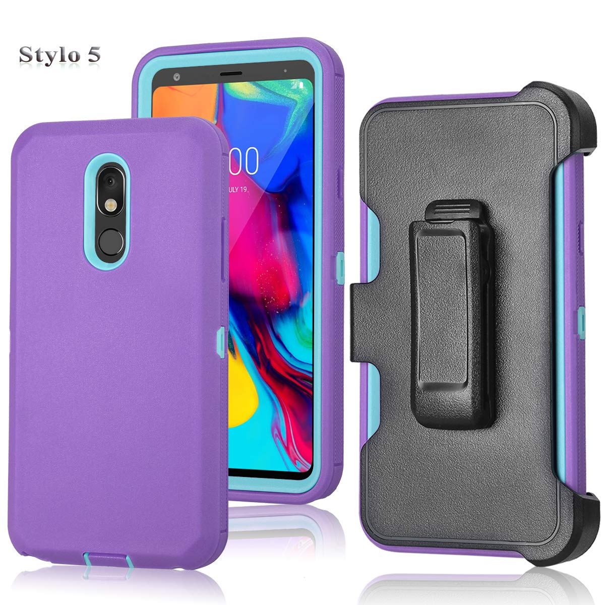 LG Stylo 5 Case, Tri-Layer Heavy Duty [with Built-in Screen Protector] [Kickstand] [Belt Clip] Hybrid High Impact Resistant Rugged Full-Body Shockproof Cover for LG Stylo 5 (Purple/Mint)