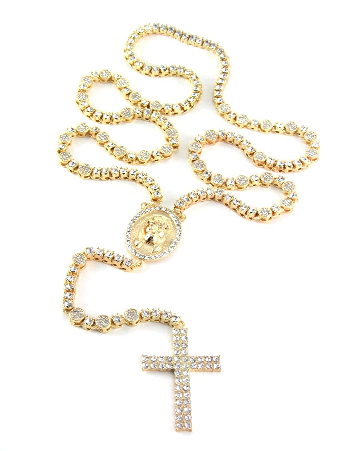 """Iced Out 36"""" Gold Rosary Simulated Diamond Chain Necklace 2 Row Cross 14K Finish"""