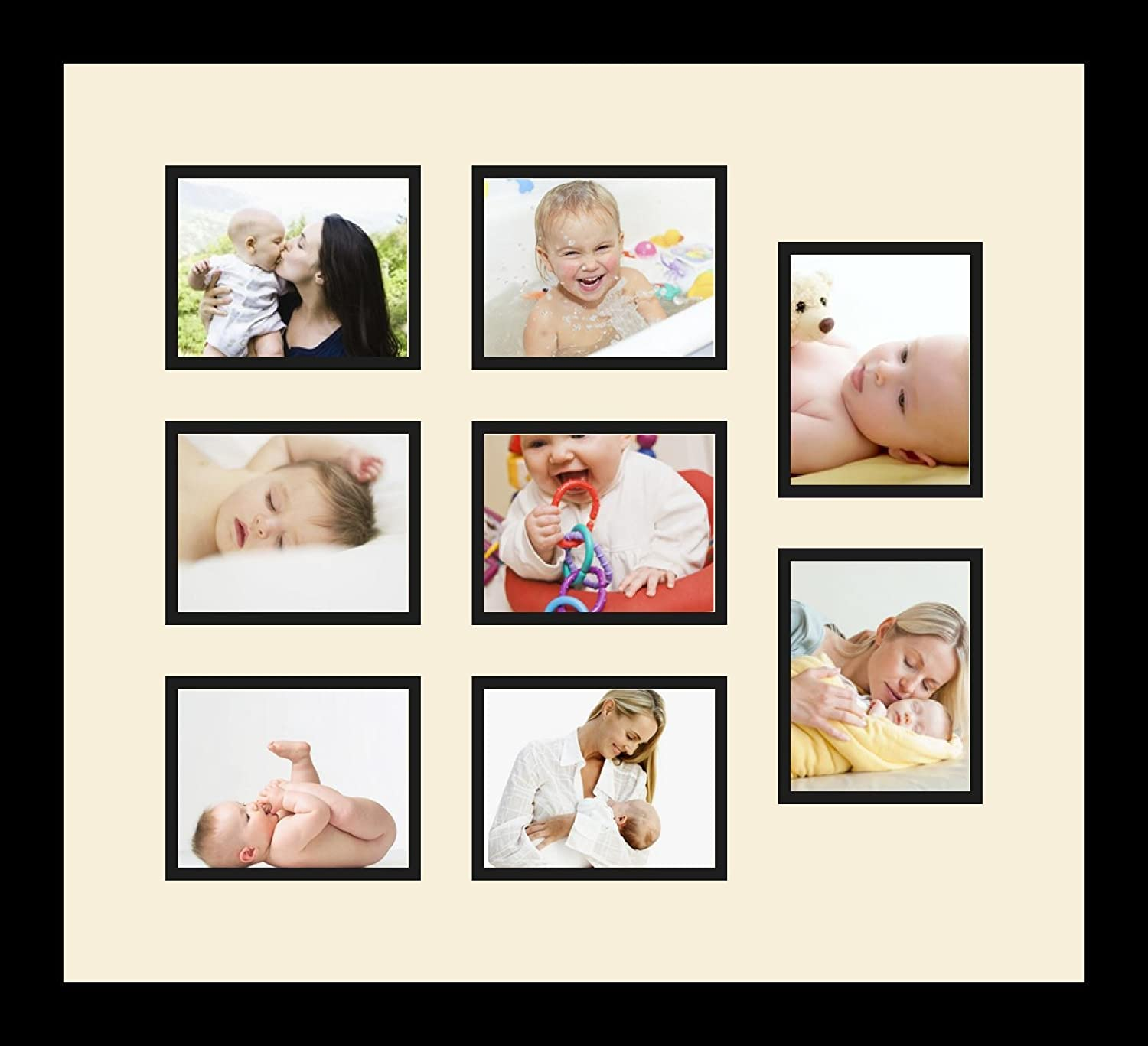 Art to Frames Double-Multimat-1289-594//89-FRBW26079 Collage Photo Frame Double Mat with 8-4x5 Openings and Satin Black Frame