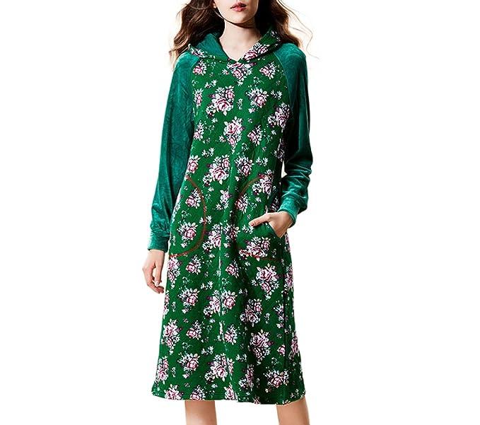 Señoras Pijamas De Invierno De Lujo Elegante Ropa De Dormir Espesar Algodón Camisón De Manga Larga