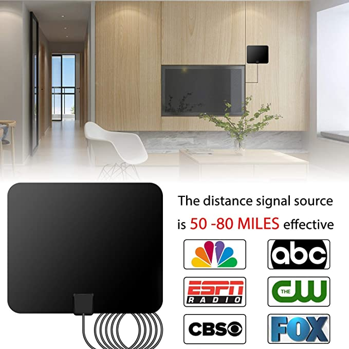 Amazon.com: [2018 Upgraded] HDTV Antenna - Digital Amplified HD TV Antenna 50-80 Mile Range 4K HD VHF UHF Freeview Television Local Channels w/Detachable ...