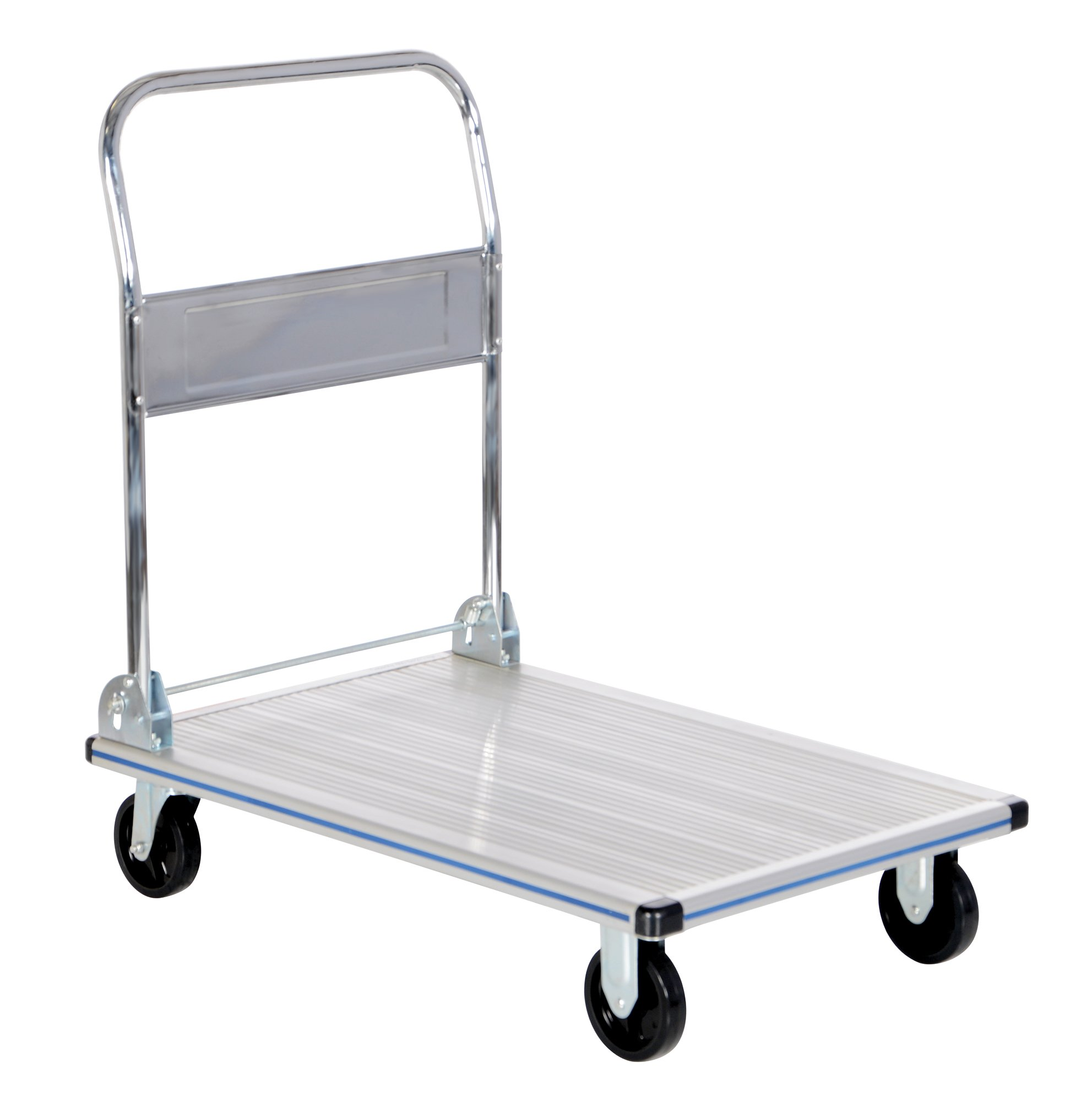 Vestil AFT-36-NM Aluminum Folding Platform Truck with Single Handle and 5'' Non-Marking Polyurethane Casters, 600 lbs Capacity, 36'' Length x 24'' Width x 8-3/8'' Height