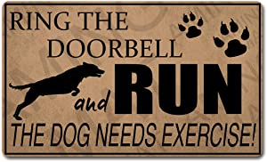 Funny Welcome Mat Personalized Rugs(30 X 18 in) Ring The Doorbell and Run The Dog Needs Exercise Colorful Print Top with Anti-Slip Rubber Back Doormats Monogram Door Mats for The Entrance Way