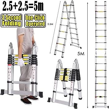 Escalera telescópica de aluminio de 5M, lado doble, 2,5M + 2,5M escalera telescópica escalera plegable escalera multiusos escalera 150 kg capacidad de carga (2,5M+2,5M): Amazon.es: Bricolaje y herramientas