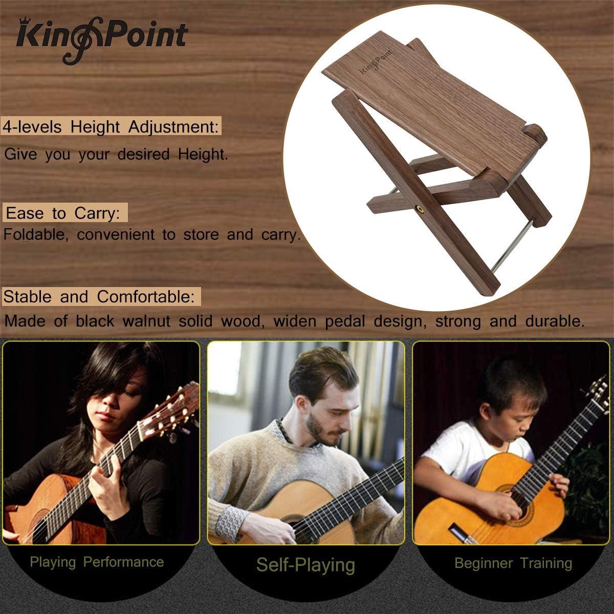 KingPoint Solid Wood Guitar Footstool 4 Adjusatble Height Levels Black Walnut Wood Guitar Footres Foldable Black Walnut Footstool
