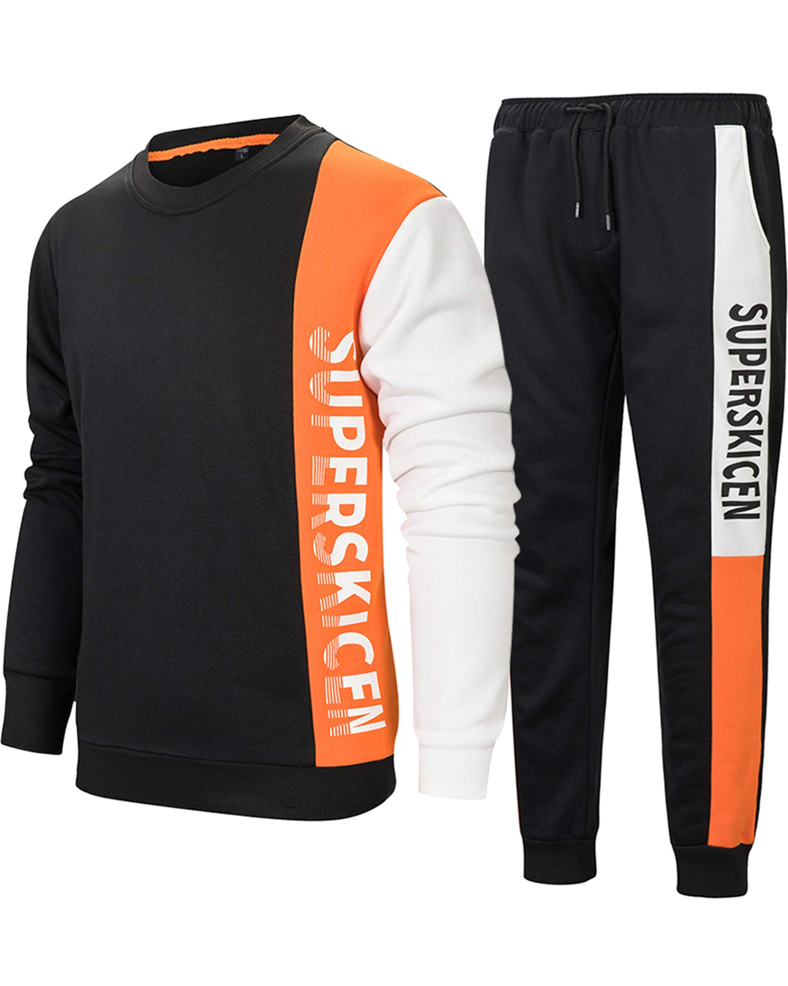 MACHLAB Men's Pullover Athletic Warm Running Tracksuit Sportswear Jogging Sweat SuitOrange XL