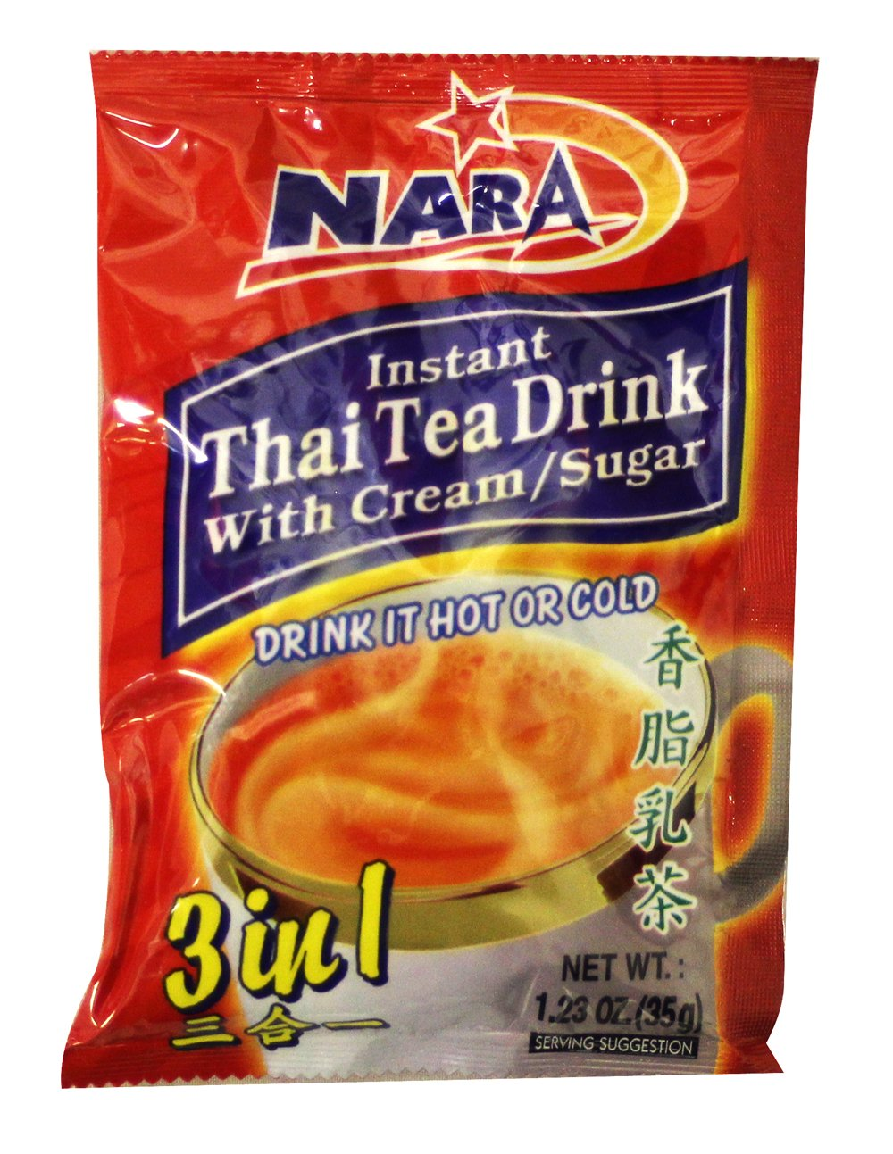 Instant Thai Tea Drink 3 in 1 (With Cream & Sugar /12-ct) - 14.76oz (Pack of 1) by Nara