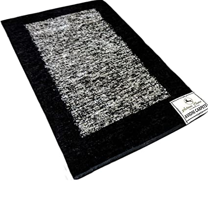 Avioni Rugs Black And Silver Carpets,Softness Guaranteed-Handloom Made Reversible Light Weight -3 Feet X 5 Feet