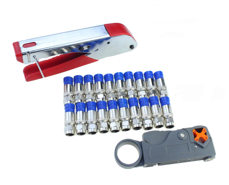 Coax Cable Crimper Elibbren Coaxial Compression Tool Kit with Wire Stripper Tool F RG6 RG59 Connectors of 10PCS by Elibbren