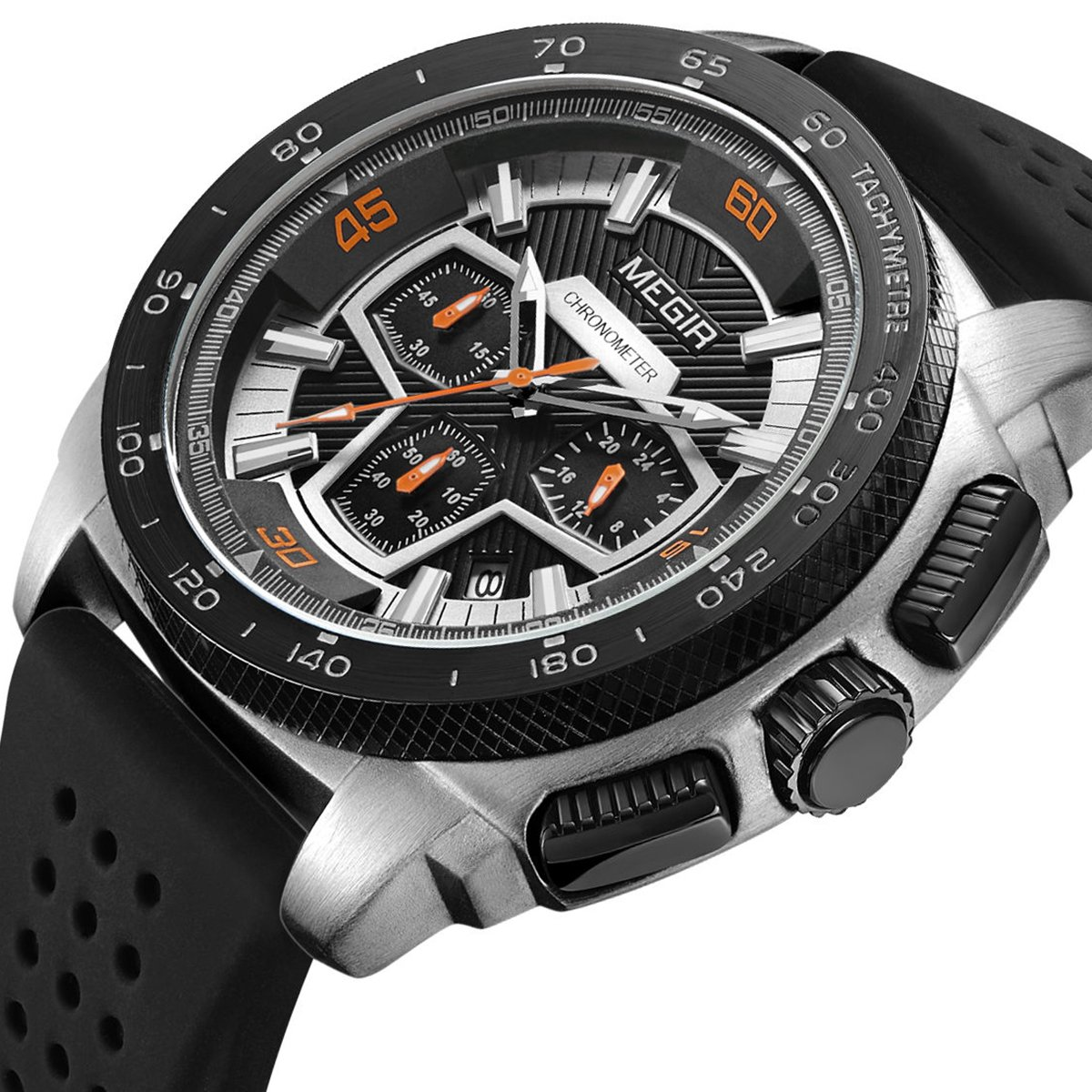 Watches for Men Analog Waterproof Chronograph Quartz Silicone Watches for LIANDU Brand (black)