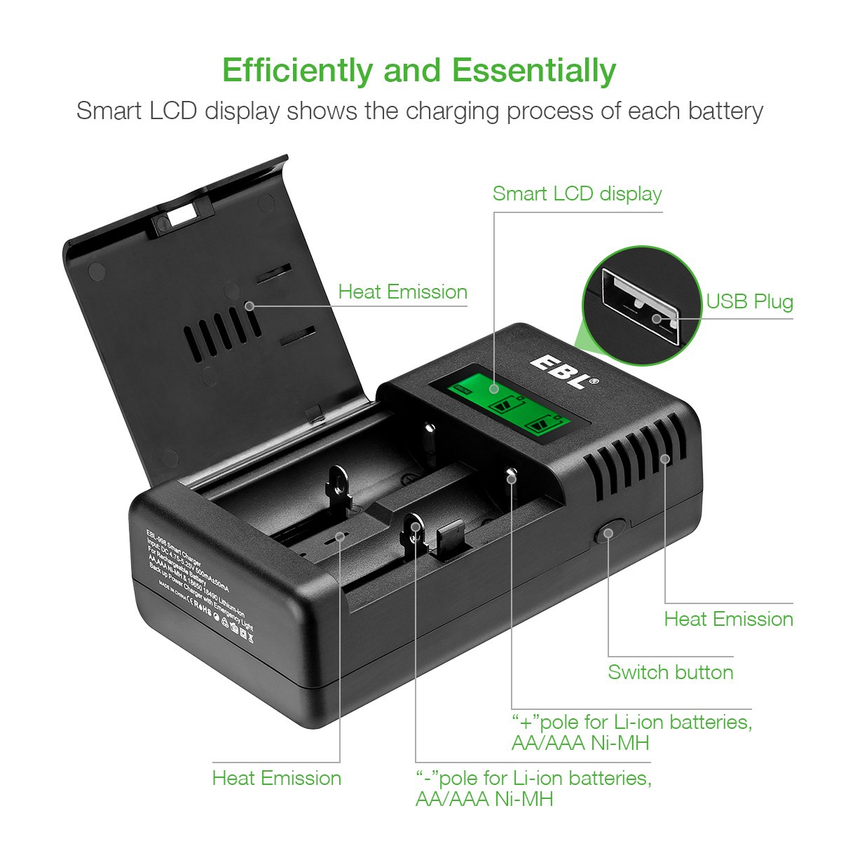 EBL Smart Battery Charger for Li-ion/IMR/Ni-MH/Ni-Cd 26650 18650 16340 RCR123 14500 10440 AA AAA AAAA C Rechargeable Battery with LED Flashlight(Battery Not Included) by EBL (Image #5)
