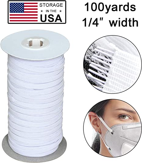 Black 100Yards Length 1//4 Inch Elastic String Cord Heavy Stretch High Elasticity Knit Elastic Band for Sewing Craft DIY 6mm