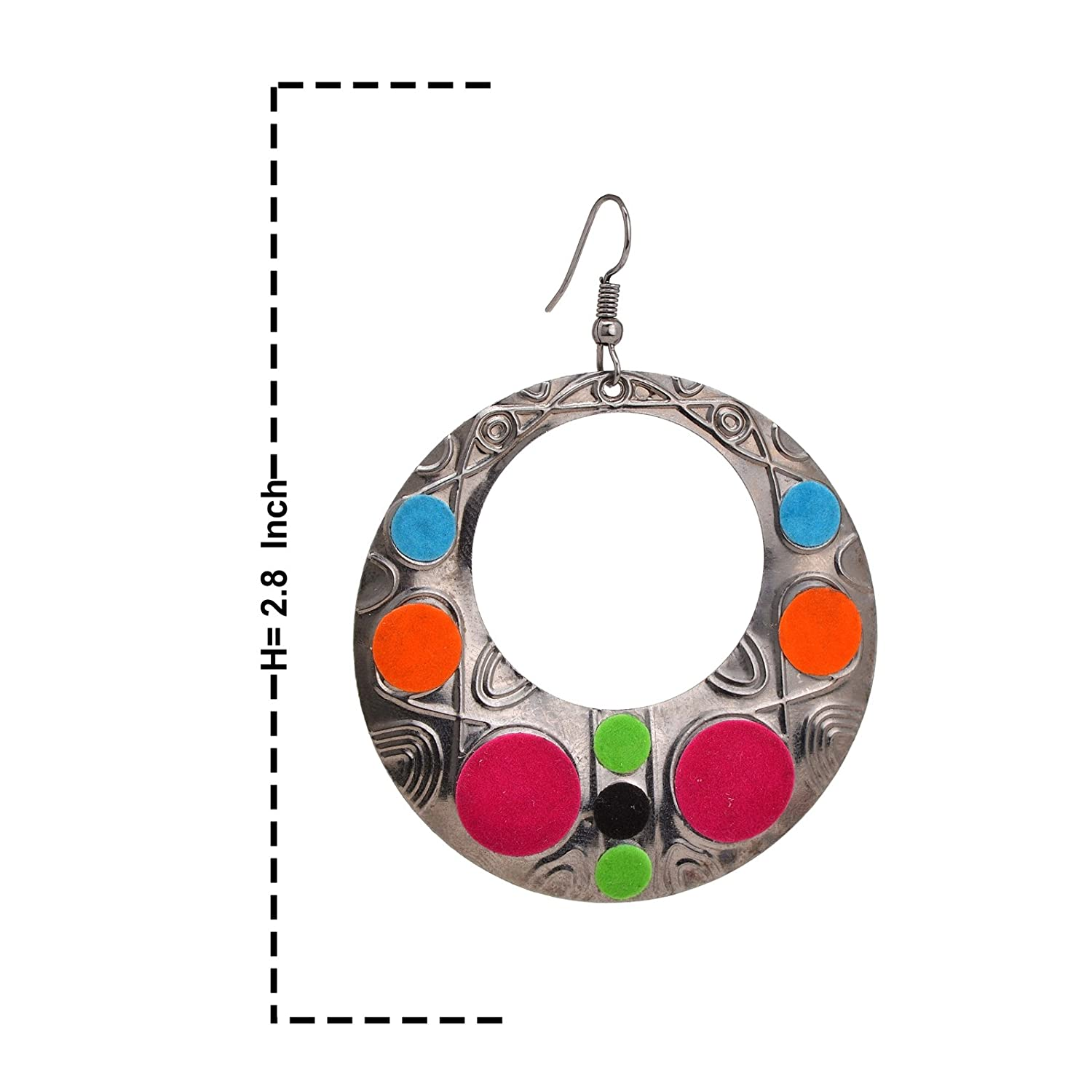 Oreleaa Earrings Round Carved Silver Metal Dangler with Multi-Color Felt Design For Women and Girls