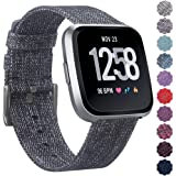 QIBOX Bands Compatible with Versa, Woven Fabric Wrist Strap Watch Special Edition Bands Classic Square Stainless Steel Buckle Compatible with Versa Smart Watch