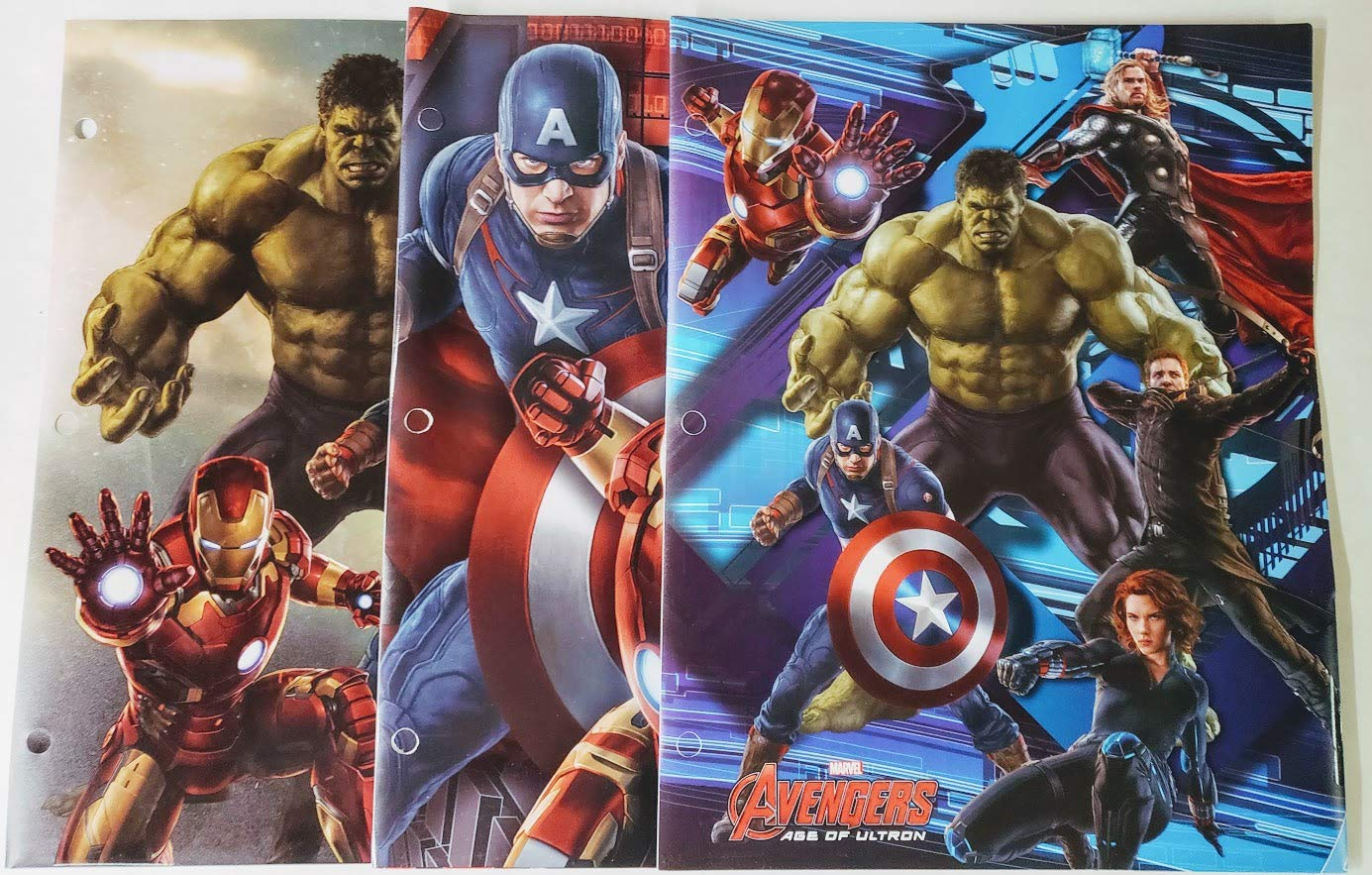 Marvel Avengers Poly Plastic Portfolio Folders -Set of 3 by Big City Bargains (Image #1)