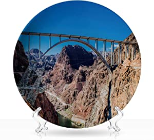 "mike ocallaghanu2013pat tillman memorial bridge between Nevada and Arizona in front of the hoover dam,Colorful Graphic Plate for Home,6 inch 8""Inch"