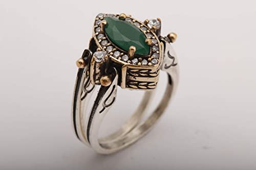 Turkish Handmade Jewelry Sterling Silver 925 Turquoise Ring Ladies 6 7 8 9