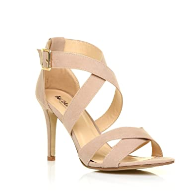 a993d9c0f31 Sophie Nude Faux Suede Strappy High Heel Sandals Size UK 7 EU 40 ...