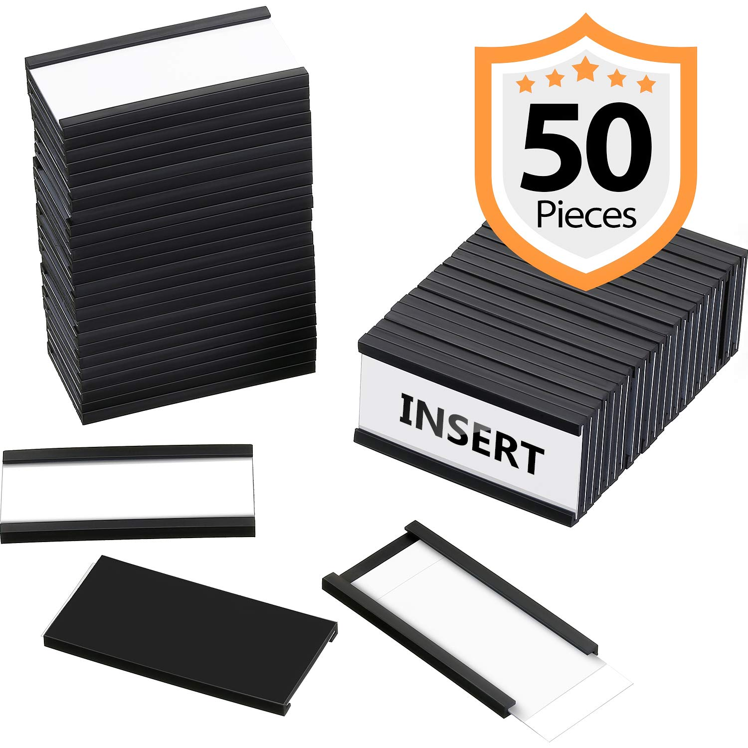 50 Pieces Magnetic Data Card Holders Magnetic Labels with 50 Magnets and 50 Cards for Metal Shelving, Metal Racks, Metal Mailboxes (1 x 2 Inch)