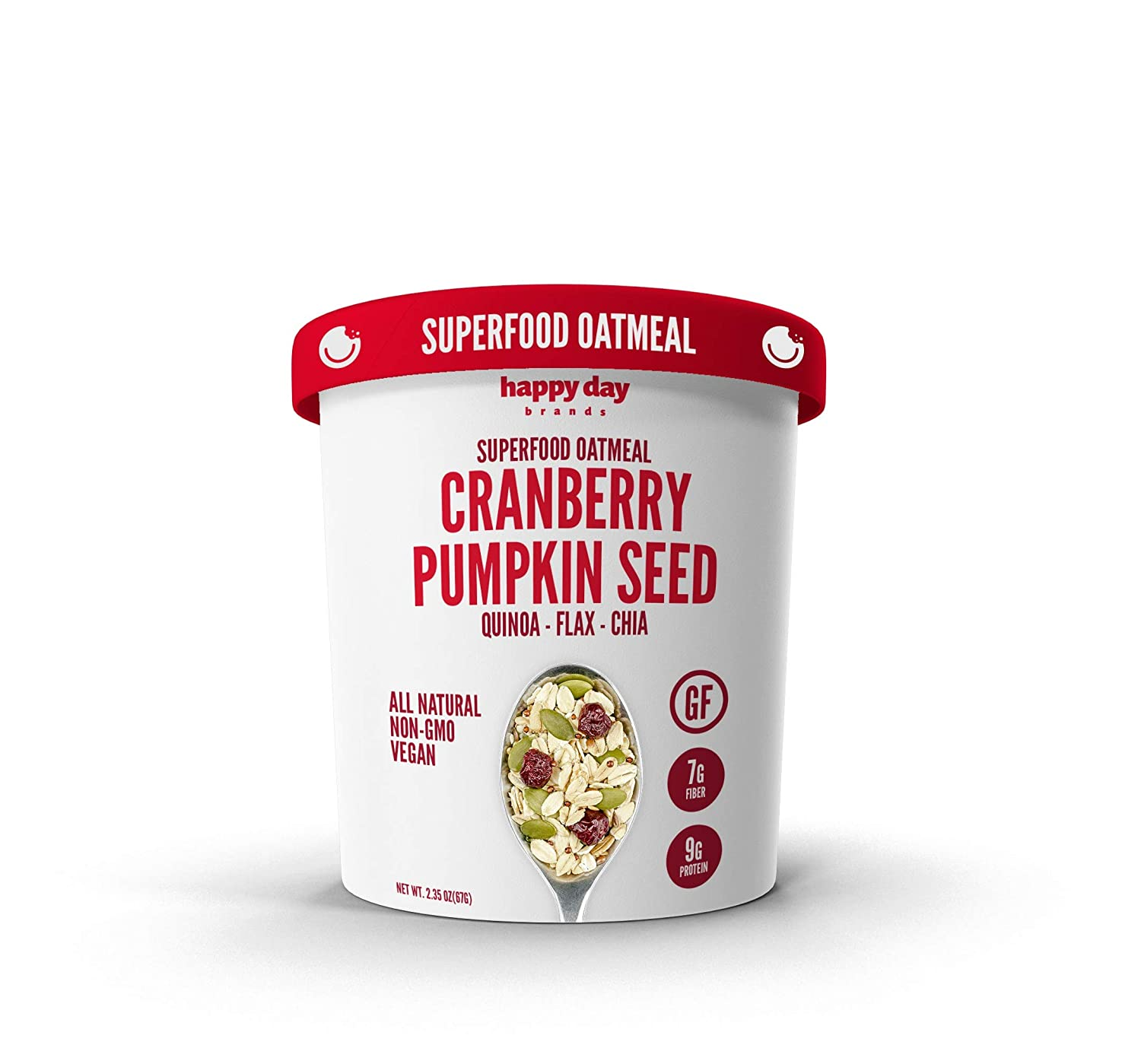 Happy Day Brands Superfood Oatmeal Cups, Cranberry Pumpkin Seed Cups, 2.35oz (12 Pack)