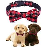 Freezx Christmas Dog Collar with Bow Tie - Adjustable 100% Cotton Nylon Design Handmade - Cute Fashion for Large Medium…