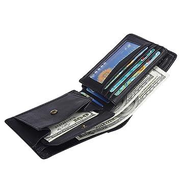 Herren Geldbörse Ledergeldbörse mit RFID-Schutz Schlanke Geldbeutel Portemonnaie