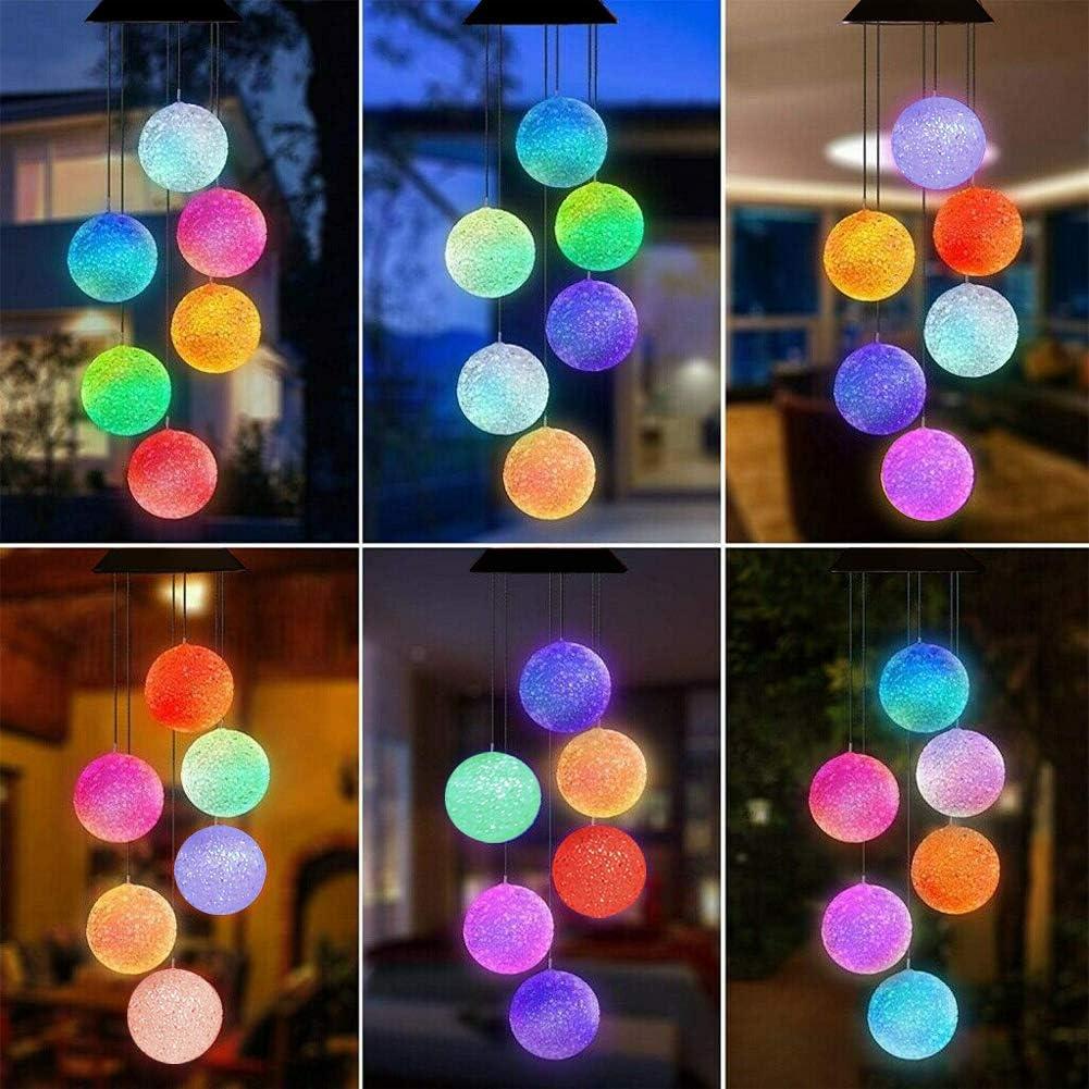 Yooda Windspiel mit Kristallkugel und LED-Beleuchtung farbwechselnd wasserdicht Dekoration Garten Hof f/ür Terrasse solarbetrieben