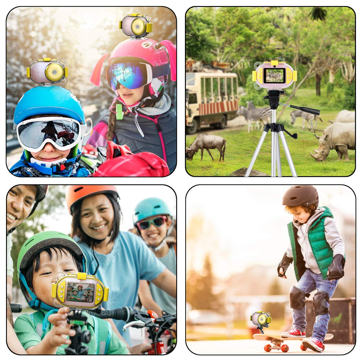 Kids Camera, OPOLEMIN Kids Waterproof Camera Kids Video Camera with Sound Playback Underwater Digital Camera Camcorderfor Kids with 16G Memory Card for Children's Day Birthday Trip Beach Swimming by OPOLEMIN (Image #6)