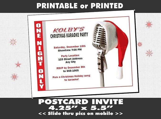 Amazon christmas karaoke party invitation printable or printed christmas karaoke party invitation printable or printed option stopboris Image collections