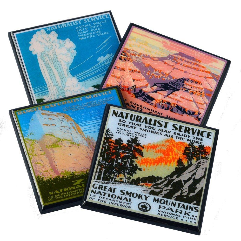 Vintage National Park WPA Poster Coaster Set