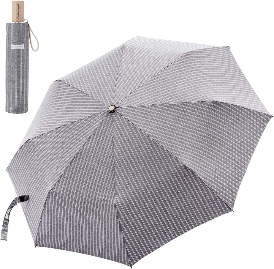 Leodauknow-Compact Travel Umbrella Windproof and waterproof reinforced Canopy, 210T Cationic Fabric super Waterproof shell fabric, Manual Open Close Grey
