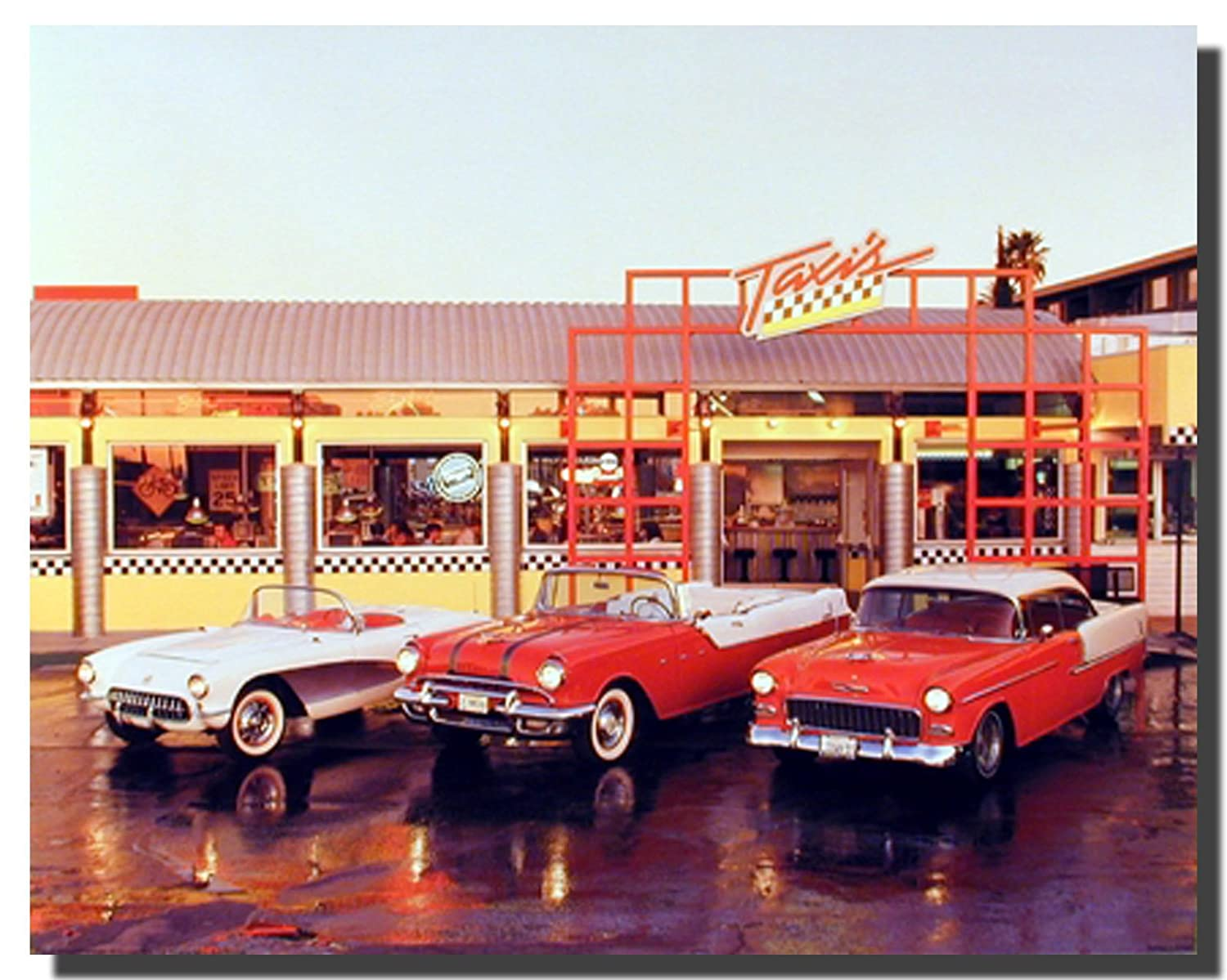 Amazon.com: Classic Vintage Cars At Taxi Stand Transportation Wall ...