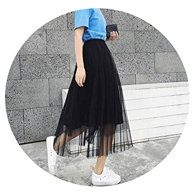 58437c55a Summer Women Tulle Skirt Pleated Skirt Black High Waist Midi Skirts Thin  Chiffon Mesh,Black