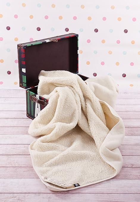 CUNA Manta de 100% pura lana Merina, cuna manta 120 x 150 cm Cálido