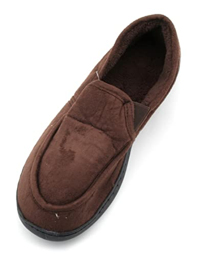 Slumberzzz Hombre Suede Style Slip-On Slippers with Elastic Gusset Gusset Elastic a886cc