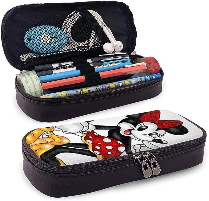 Estuche de piel para lápices de Mickey y Minnie Mouse, gran capacidad, adecuado para la escuela, estudiantes, niños, niñas y oficina: Amazon.es: Oficina y papelería