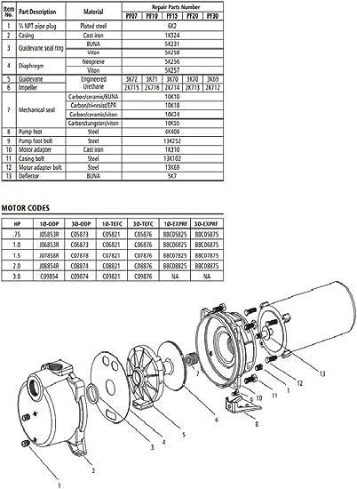 Pf15 Goulds Self Priming Pump Repair Rebuild Kit Amazon Com