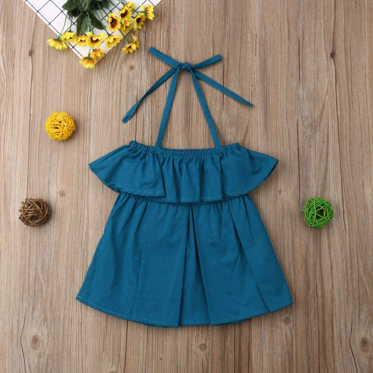 Licupiee Baby Girl One Piece Halter Neck Jumpsuit Rompers Ruffle Hem Bodysuit Outfit Summer Dresses
