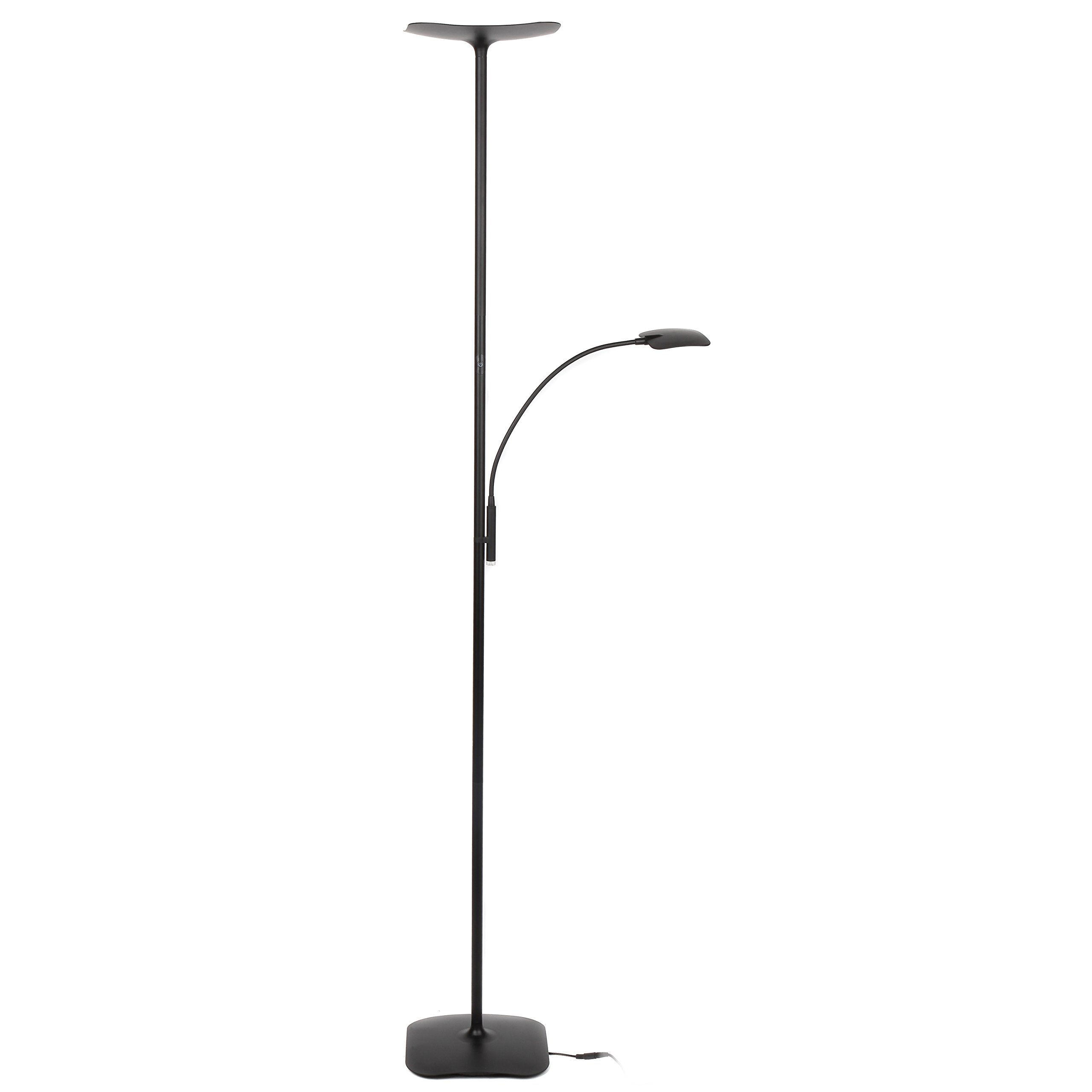 Brightech Sky Plus LED Torchiere Floor & Reading Lamp – Living Room Standing Reading Dimmable Adjustable Light – for Dorm, Bedroom or Office – Jet Black