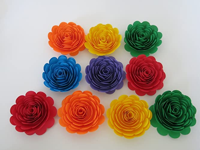Amazon 10 bright colorful paper flowers 3 rainbow roses 10 bright colorful paper flowers 3quot rainbow roses unicorn party theme lgbt mightylinksfo