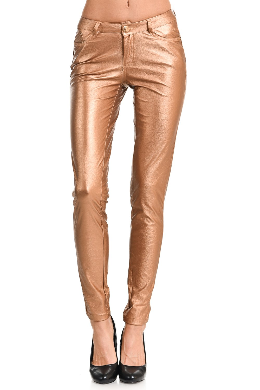 VIRGIN ONLY Women's Textured Skinny Pants (66 Light Brown, Size S)
