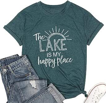 ALLTB Lake Life camisetas femininas estampadas fofas