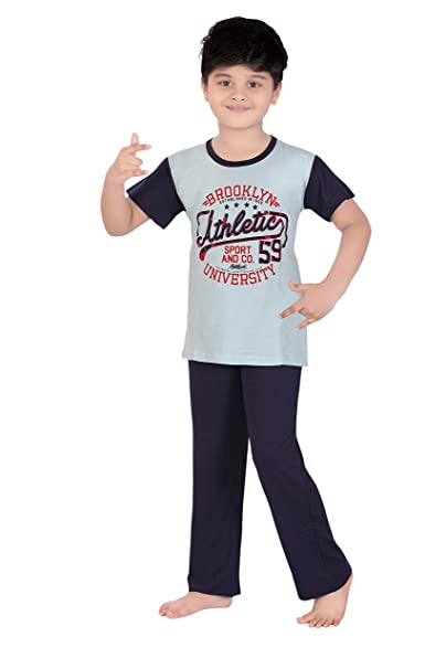 TWGE Night Suit for Kids - Sky Blue Top and Pyjama Set - Printed Tshirt and  Pant Set for Children - Soft Cotton Material ... 17e74b80c