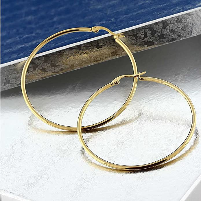 Gem Stone King 2inches Stunning Stainless Steel Yellow Gold Plated Hoop Earrings (50mm Diameter)